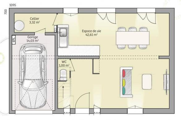 Maison+Terrain à vendre .(80 m²)(SAINT LYE) avec (MAISONS FRANCE CONFORT)