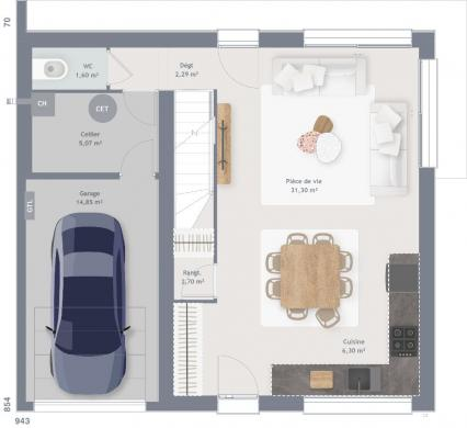 Maison+Terrain à vendre .(90 m²)(BREVIANDES) avec (MAISONS FRANCE CONFORT)