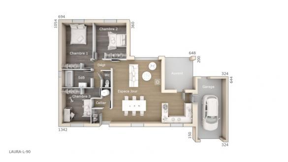 Maison+Terrain à vendre .(90 m²)(CLARET) avec (LES MAISONS DE MANON)