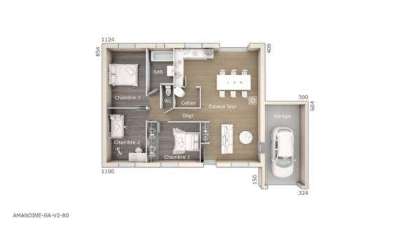 Maison+Terrain à vendre .(80 m²)(FONS) avec (LES MAISONS DE MANON)