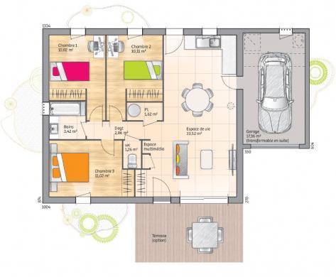 Maison+Terrain à vendre .(74 m²)(SAINT CHRISTOL LES ALES) avec (LES MAISONS DE MANON)