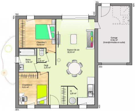 Maison+Terrain à vendre .(60 m²)(SAINT GENIES DES MOURGUES) avec (LES MAISONS DE MANON)