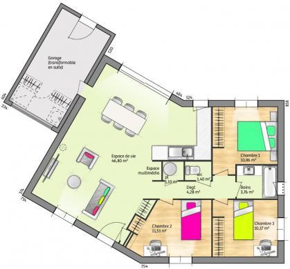 Maison+Terrain à vendre .(90 m²)(DIONS) avec (LES MAISONS DE MANON)
