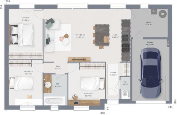 Maison+Terrain à vendre .(80 m²)(NOAILLES) avec (MAISONS FRANCE CONFORT)