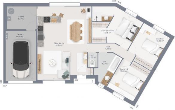 Maison+Terrain à vendre .(90 m²)(TILQUES) avec (MAISONS FRANCE CONFORT)
