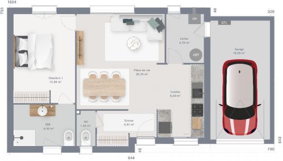 Maison+Terrain à vendre .(60 m²)(BOESEGHEM) avec (MAISONS FRANCE CONFORT)