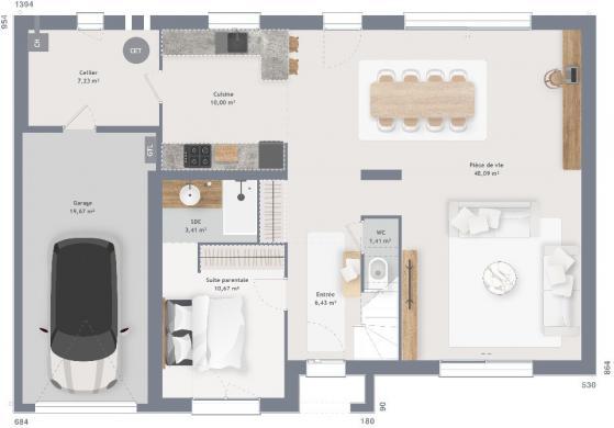 Maison+Terrain à vendre .(150 m²)(TERTRY) avec (MAISONS FRANCE CONFORT)