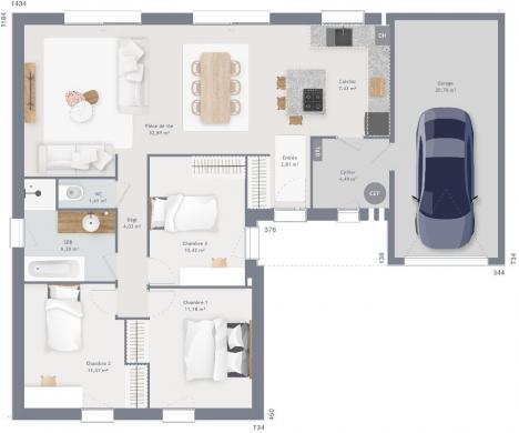 Maison+Terrain à vendre .(89 m²)(FLAVY LE MARTEL) avec (MAISONS FRANCE CONFORT)