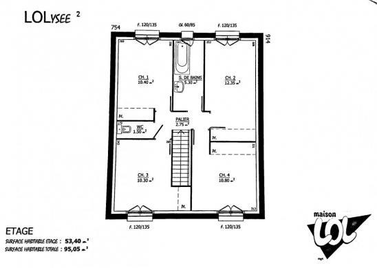 Maison à vendre .(95 m²)(LE PLESSIS BELLEVILLE) avec (MAISON LOL)