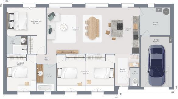 Maison+Terrain à vendre .(110 m²)(SAINT LEGER SUR SARTHE) avec (MAISONS FRANCE CONFORT)