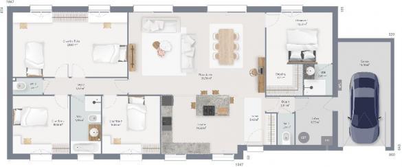 Maison+Terrain à vendre .(140 m²)(ARCONNAY) avec (MAISONS FRANCE CONFORT)
