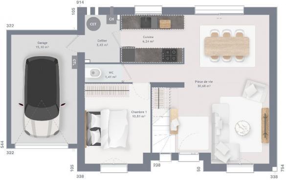 Maison+Terrain à vendre .(100 m²)(ARCONNAY) avec (MAISONS FRANCE CONFORT)