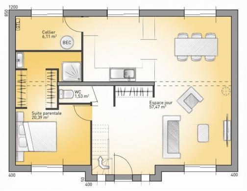 Maison+Terrain à vendre .(163 m²)(PRUILLE L'EGUILLE) avec (MAISONS FRANCE CONFORT)