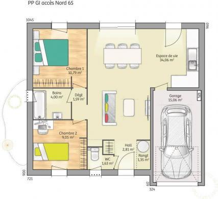 Maison+Terrain à vendre .(65 m²)(GUECELARD) avec (MAISONS FRANCE CONFORT)