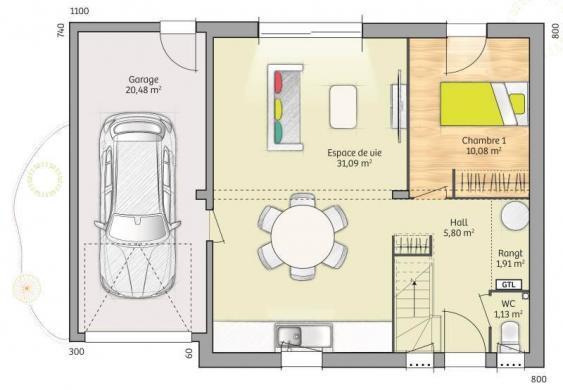 Maison+Terrain à vendre .(76 m²)(FILLE) avec (MAISONS FRANCE CONFORT)