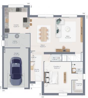 Maison+Terrain à vendre .(160 m²)(TRESLON) avec (MAISONS FRANCE CONFORT)