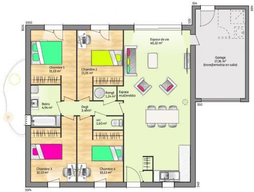 Maison+Terrain à vendre .(74 m²)(MONOBLET) avec (MAISONS FRANCE CONFORT)