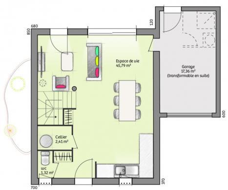 Maison à vendre .(94 m²)(BRIGNAC) avec (LES MAISONS DE MANON)
