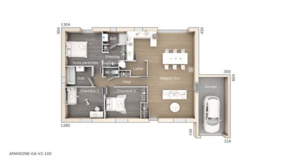 Maison+Terrain à vendre .(100 m²)(CANET) avec (LES MAISONS DE MANON)