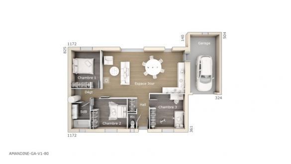Maison+Terrain à vendre .(80 m²)(LE POUGET) avec (LES MAISONS DE MANON)