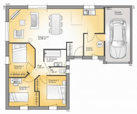 Maison+Terrain à vendre .(89 m²)(OIZE) avec (Maisons France Confort-maisons-france-confort)