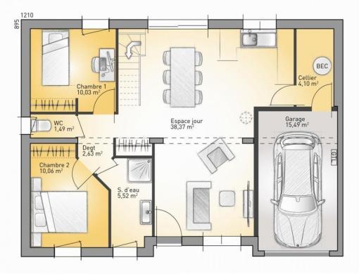 Maison+Terrain à vendre .(72 m²)(OIZE) avec (Maisons France Confort-maisons-france-confort)