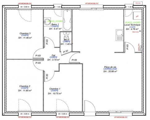 Maison+Terrain à vendre .(85 m²)(LES AUTHIEUX) avec (Maisons Axcess)
