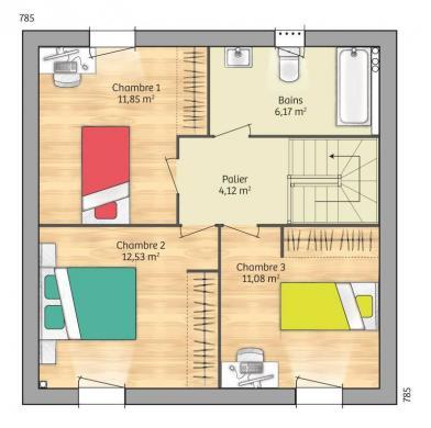 Maison+Terrain à vendre .(83 m²)(SAINT PIERRE LES NEMOURS) avec (MAISONS FRANCE CONFORT)