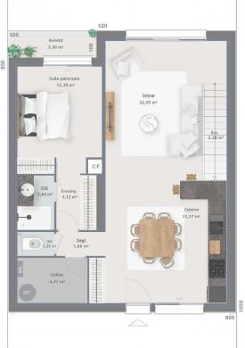 Maison+Terrain à vendre .(122 m²)(ONCY SUR ECOLE) avec (MAISONS FRANCE CONFORT)