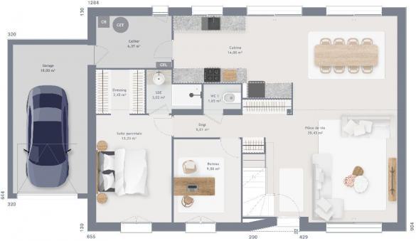 Maison+Terrain à vendre .(145 m²)(NOISY SUR ECOLE) avec (MAISONS FRANCE CONFORT)