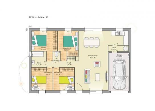 Maison+Terrain à vendre .(93 m²)(MONTACHER VILLEGARDIN) avec (MAISONS FRANCE CONFORT)