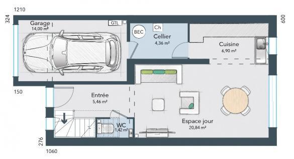 Maison+Terrain à vendre .(80 m²)(ECARDENVILLE LA CAMPAGNE) avec (MAISONS FRANCE CONFORT)