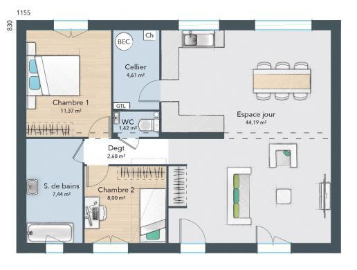 Maison+Terrain à vendre .(75 m²)(BOISSY LAMBERVILLE) avec (MAISONS FRANCE CONFORT)