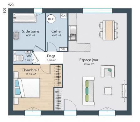 Maison+Terrain à vendre .(55 m²)(SAINT VICTOR D'EPINE) avec (MAISONS FRANCE CONFORT)