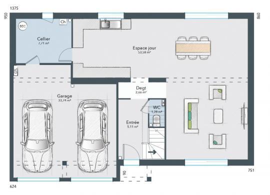 Maison+Terrain à vendre .(125 m²)(LE GROS THEIL) avec (MAISONS FRANCE CONFORT)