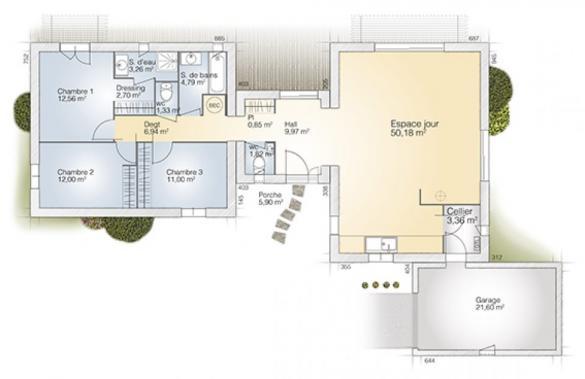 Maison+Terrain à vendre .(120 m²)(TRESSERRE) avec (MAISONS BALENCY)
