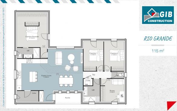 Maison+Terrain à vendre .(115 m²)(SALLES) avec (GIB CONSTRUCTION)