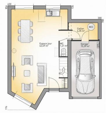 Maison+Terrain à vendre .(88 m²)(OPPY) avec (MAISONS FRANCE CONFORT)