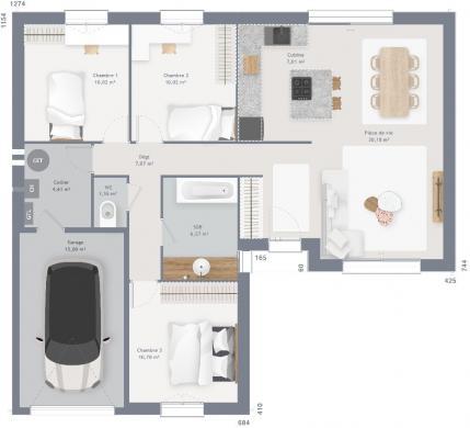 Maison+Terrain à vendre .(85 m²)(BARLIN) avec (MAISONS FRANCE CONFORT)