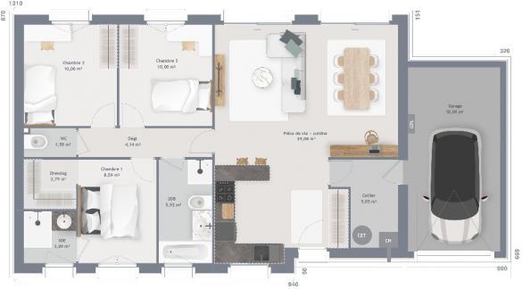 Maison+Terrain à vendre .(90 m²)(MONTIGNY EN GOHELLE) avec (MAISONS FRANCE CONFORT)