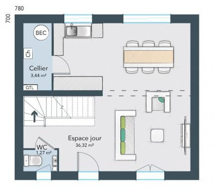 Maison+Terrain à vendre .(75 m²)(SAINT PLANCHERS) avec (MAISONS FRANCE CONFORT)
