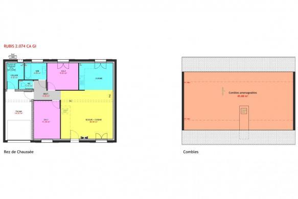 Maison à vendre .(74 m²)(COLTAINVILLE) avec (MAISONS PIERRE CHARTRES)
