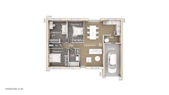 Maison+Terrain à vendre .(80 m²)(PERPIGNAN) avec (LES MAISONS DE MANON)
