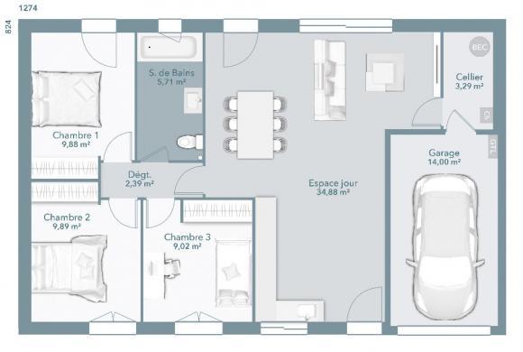 Maison+Terrain à vendre .(75 m²)(MONTGISCARD) avec (MAISONS FRANCE CONFORT)