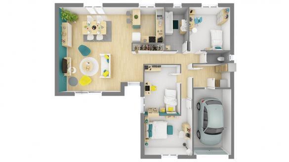 Maison+Terrain à vendre .(92 m²)(LES TROIS PIERRES) avec (HABITAT CONCEPT)