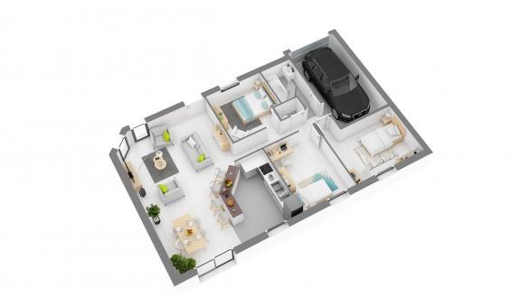 Maison+Terrain à vendre .(84 m²)(VAUVILLE) avec (HABITAT CONCEPT)