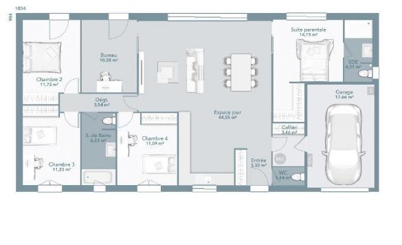 Maison+Terrain à vendre .(125 m²)(ROUFFIAC TOLOSAN) avec (MAISONS FRANCE CONFORT)