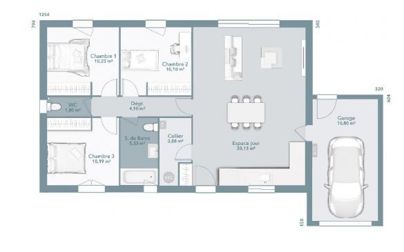 Maison+Terrain à vendre .(83 m²)(BRUGUIERES) avec (MAISONS FRANCE CONFORT)