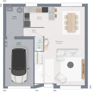Maison+Terrain à vendre .(90 m²)(FRETHUN) avec (MAISONS FRANCE CONFORT)