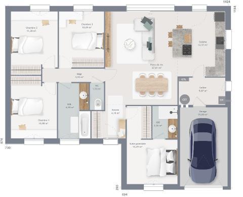 Maison+Terrain à vendre .(105 m²)(HENNEVEUX) avec (MAISONS FRANCE CONFORT)